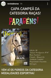 Perdigueiro (MAC) vence categoria Raças do Concurso de Capas da Revista Horse