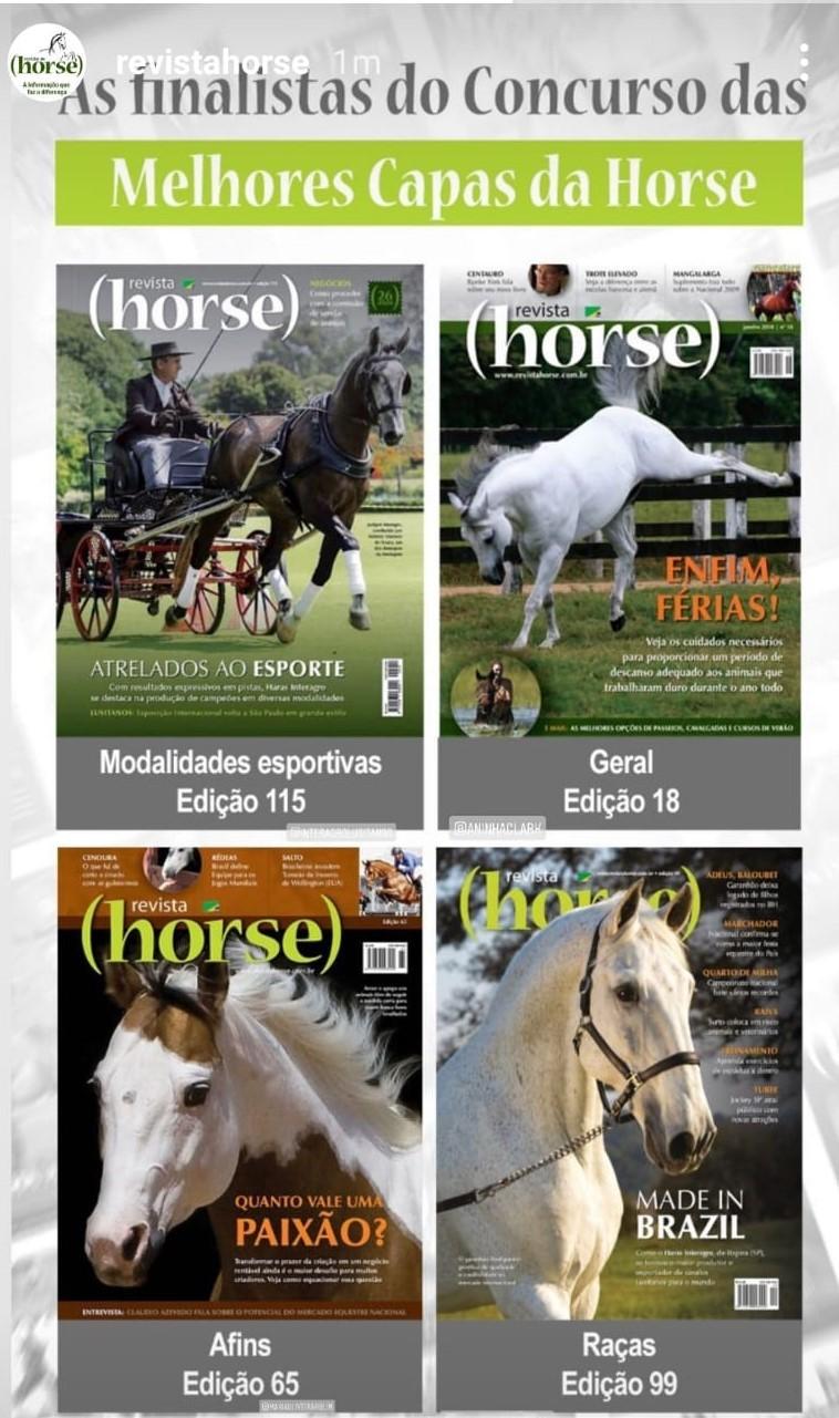 Finalistas do Concurso de Capas da Revista Horse Edição 99 - Perdigueiro (MAC)/Tupa Edição 115- Jackpot Interagro & Antonio Souza/Heleno Clemente